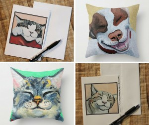 Smiley Cat Artwork from Blue Tree Studio Arts